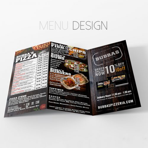 Bubbas Pizzeria Menu Design
